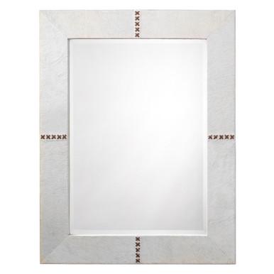 Rectangle Cross Stitch Mirror - White
