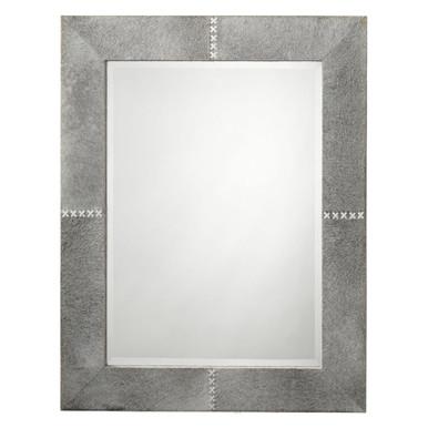 Rectangle Cross Stitch Mirror - Grey