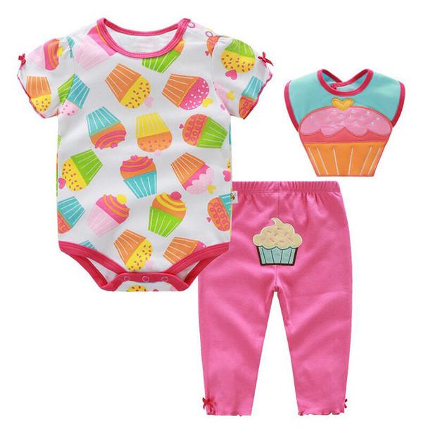 3 Pcs Baby Girl Clothes Set Summer Roupa Infantil Cotton Ice-cream