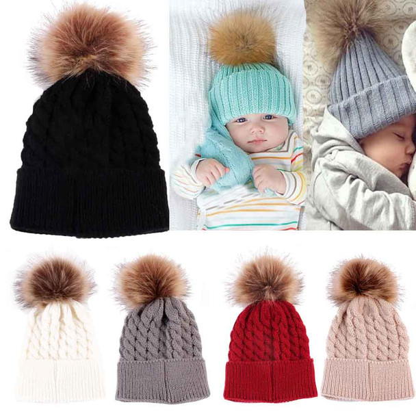Newborn Cute Winter Baby Hat Fur Ball Pompom