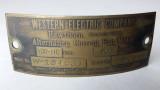 Original  Western Electric Hawthorn Tank Motor ID Tag