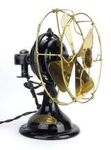 "1917 8"" Menominee Oscillator Desk Fan Brass Blade and Guard/Cage"