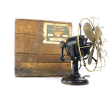 """1912 12"""" Western Electric Hawthorn Double Lever Desk Fan with Original Wooden Crate"""
