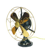 "Circa 1916 Restored 12"" Hunter Electric 2 Star Oscillating Desk Fan"