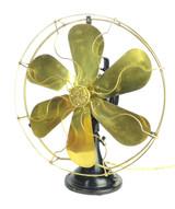 "Circa 1915 16"" 6 Blade GE 3 Star Oscillator Brass Blade/Cage Electric Fan."