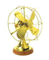"Circa 1919 8"" GE All Brass Desk Fan Polished"
