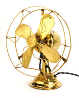 "1919 8"" GE All Brass Stationary Desk Fan"