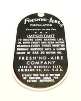 Limited Production Fresh' Nd Aire Circulator  Hang Tag