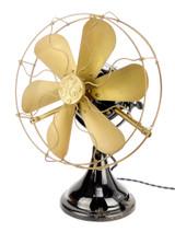 "Circa 1911 GE 12"" ""Big Motor Yoke"" Stationary 6 Blade Desk Fan"