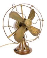 "Circa 1919 General Electric All Brass 8"" Desk Fan Rewound Motor"