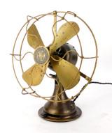 "Circa 1920 Fort Wayne Electric Works FWEW 8"" All Brass Desk Fan"