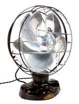 "Circa 1936 Emerson Silver Swan 12"" Oscillating Desk Fan"