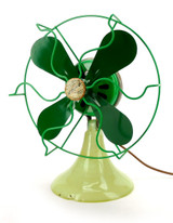 "Circa 1930's Vidrio Glass Base 8"" Stationary Desk Fan"