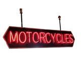 """Circa 1940's """"Motorcycle"""" Double Sided Neon Sign"""