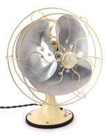 "Circa 1933 8"" GE Quiet Blade Oscillating Desk Fan Rare Ivory Color"