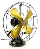 "Circa 1920 12"" GE Stationary Brass Bladed Desk Fan"