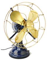 Circa 1912 Robbins & Myers Restored Blue Oscillating Desk Fan