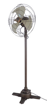 "Circa 1938 12"" GE Model 78x198 Bronze / Ivory Fixed Height Pedestal Fan Vortalex"