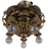"Circa 1930's Super Ornate Le Velle ""Bird Wing"" Ceiling Fan Light Fixture"