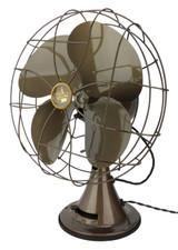 """Circa 1948 Emerson Type 77646-AS 12"""" Oscillating Desk Fan"""