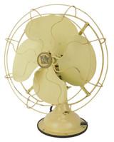 "Circa 1935 12"" R&M List 5224 Overlapping Blade Oscillating Desk Fan Ivory"