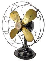 "Circa 1916 12"" R&M List 2410 Oscillating Desk Fan Original Finish"