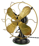"""Circa 1915 12"""" Westinghouse Brass Blade And Cage Non-Oscillating Fan"""