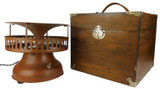Circa 1930 Faux Wood Grain Hassock Style Table Fan Designed By W.H. Ginder For Electro Dental Mfg. Co.