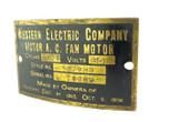 Original Western Electric Victor Tank Motor Fan Motor Tag Style 107988 w/Screws