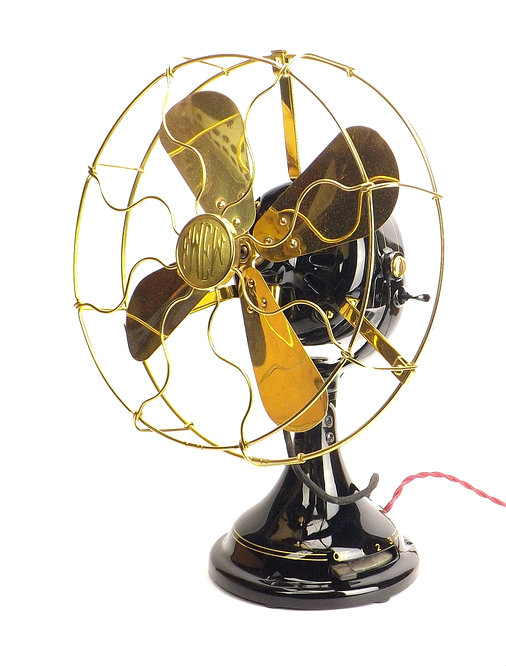 """1911 12"""" Brass Blade and Cage/Guard Fort Wayne Stationary Desk Fan"""