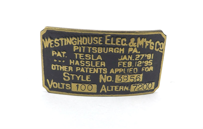 Recast Brass Motor Tag for Westinghouse Tesla Fan