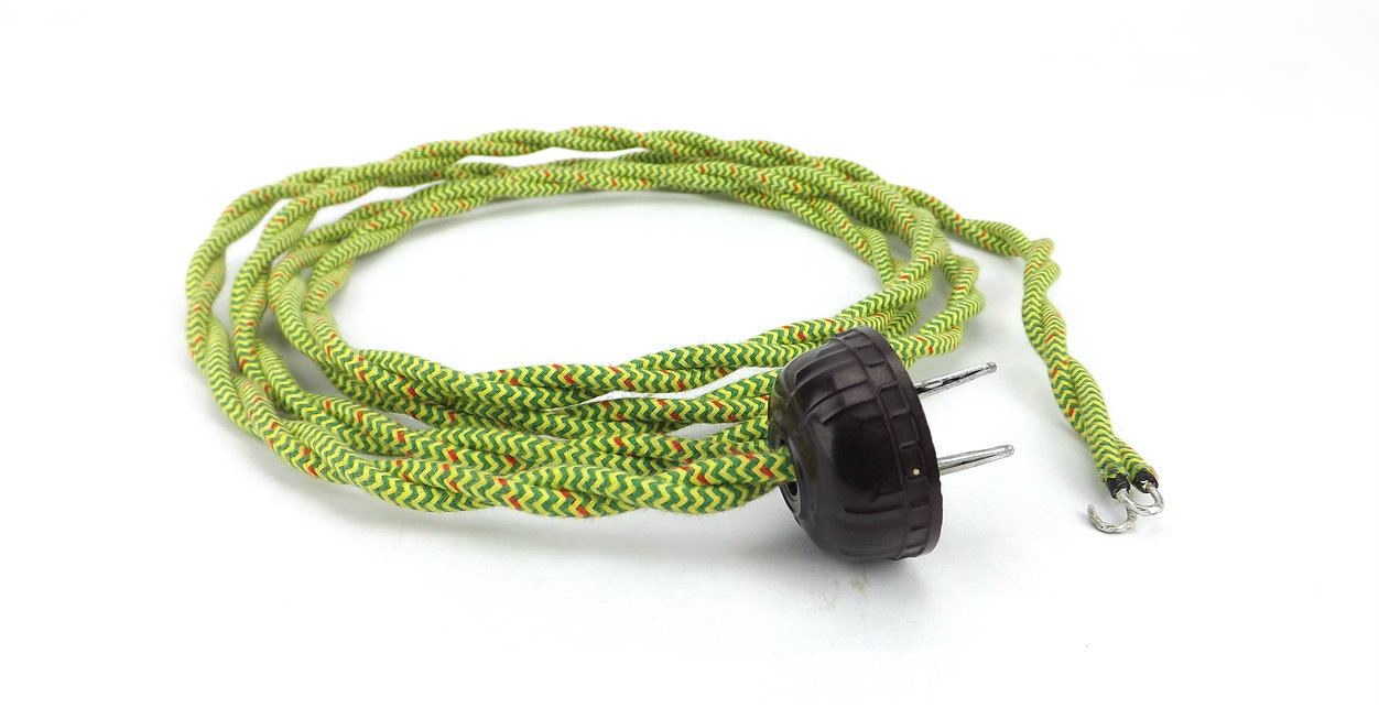 Green/Yellow and Red Speckled Twisted Power Cord with Vintage Brown Art Deco Electric Plug