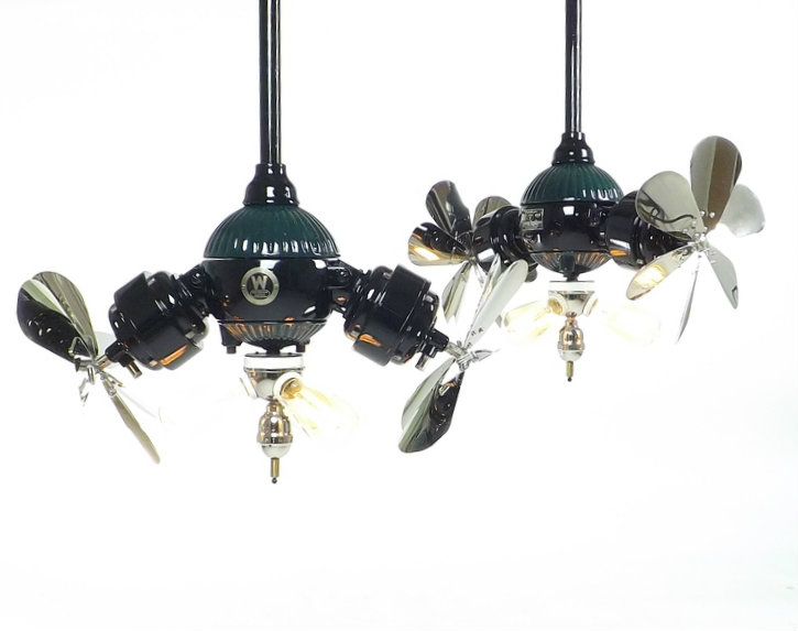 Professionally Restored Pair of Westinghouse Gyro Ceiling Fans Consective Serial Numbers