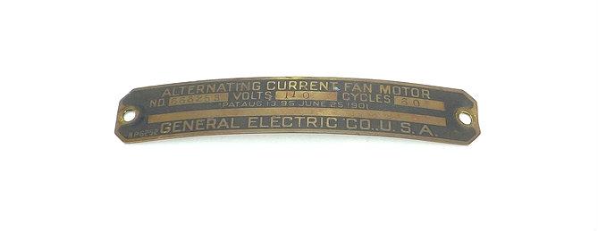Original GE Motor Tag for Late Model BMY or Kidney