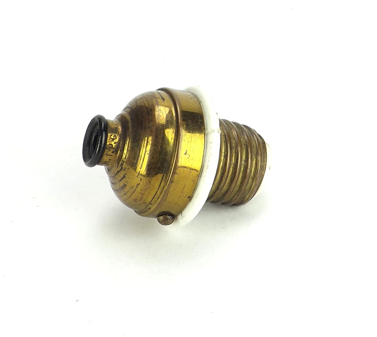 Original Brass and Porcelain Screw In Plug H.T.P.Co.