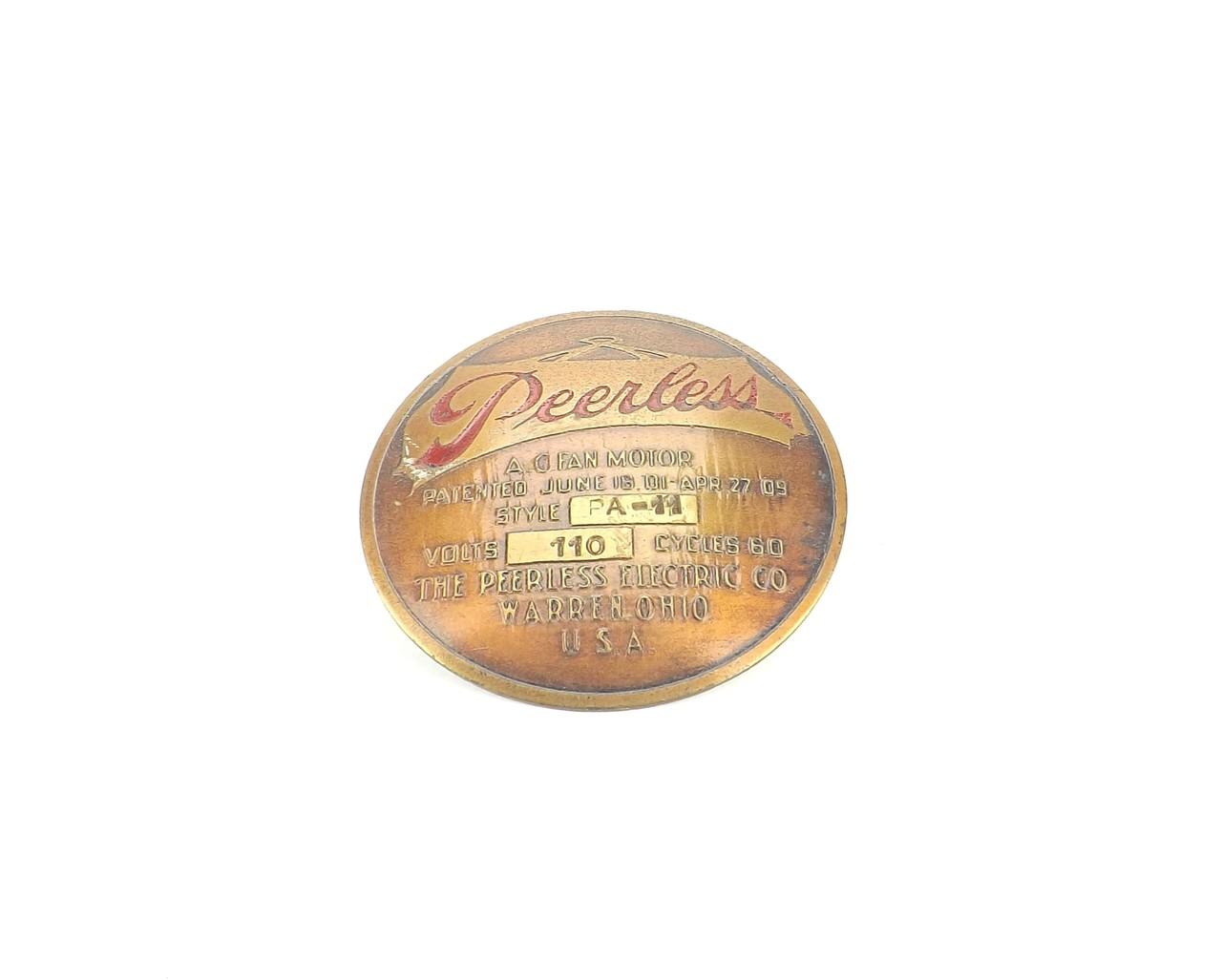 "Original 8"" Peerless Style PA-11 Cage/ Guard Badge Tag"