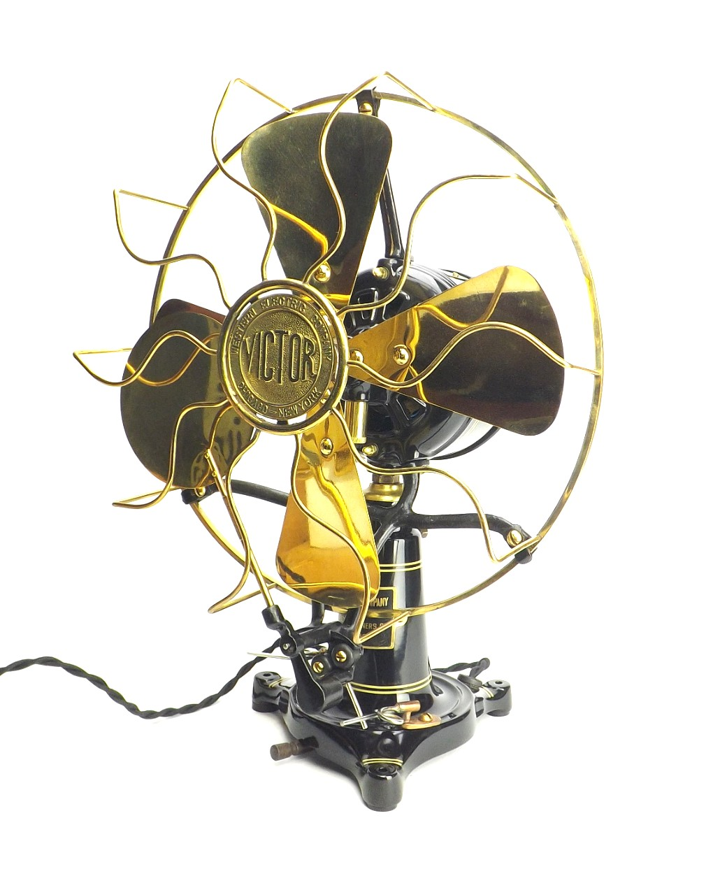 "Restored 12"" Western Electric Victor Lollipop Oscillating Desk Fan"