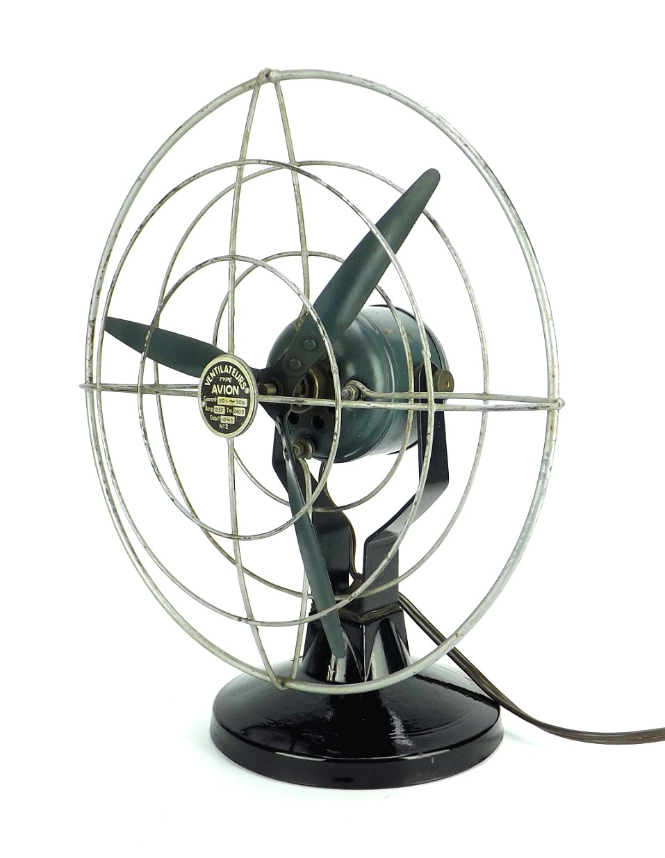 "Circa 1930's Avion Ventilateur  Made In France 8"" Desk Fan"