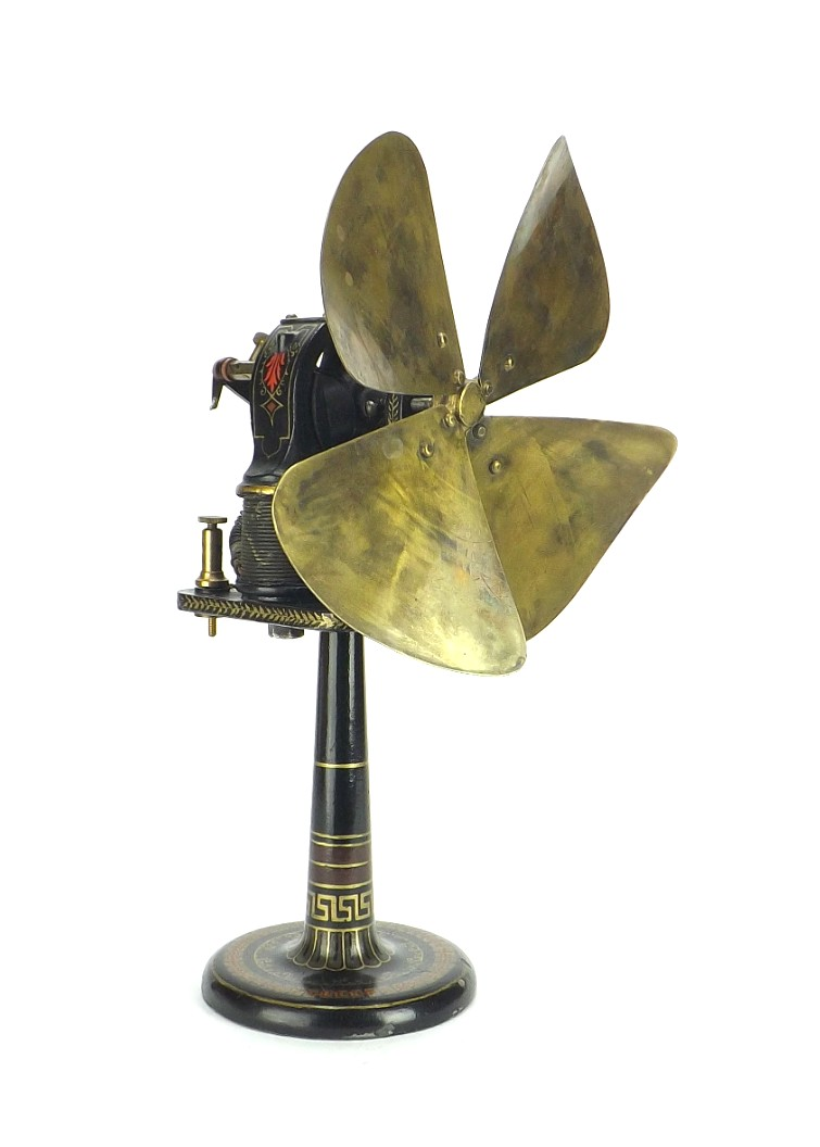 Circa 1890 Ziegler Chicago IL. Bipolar Candlestick Desk Fan