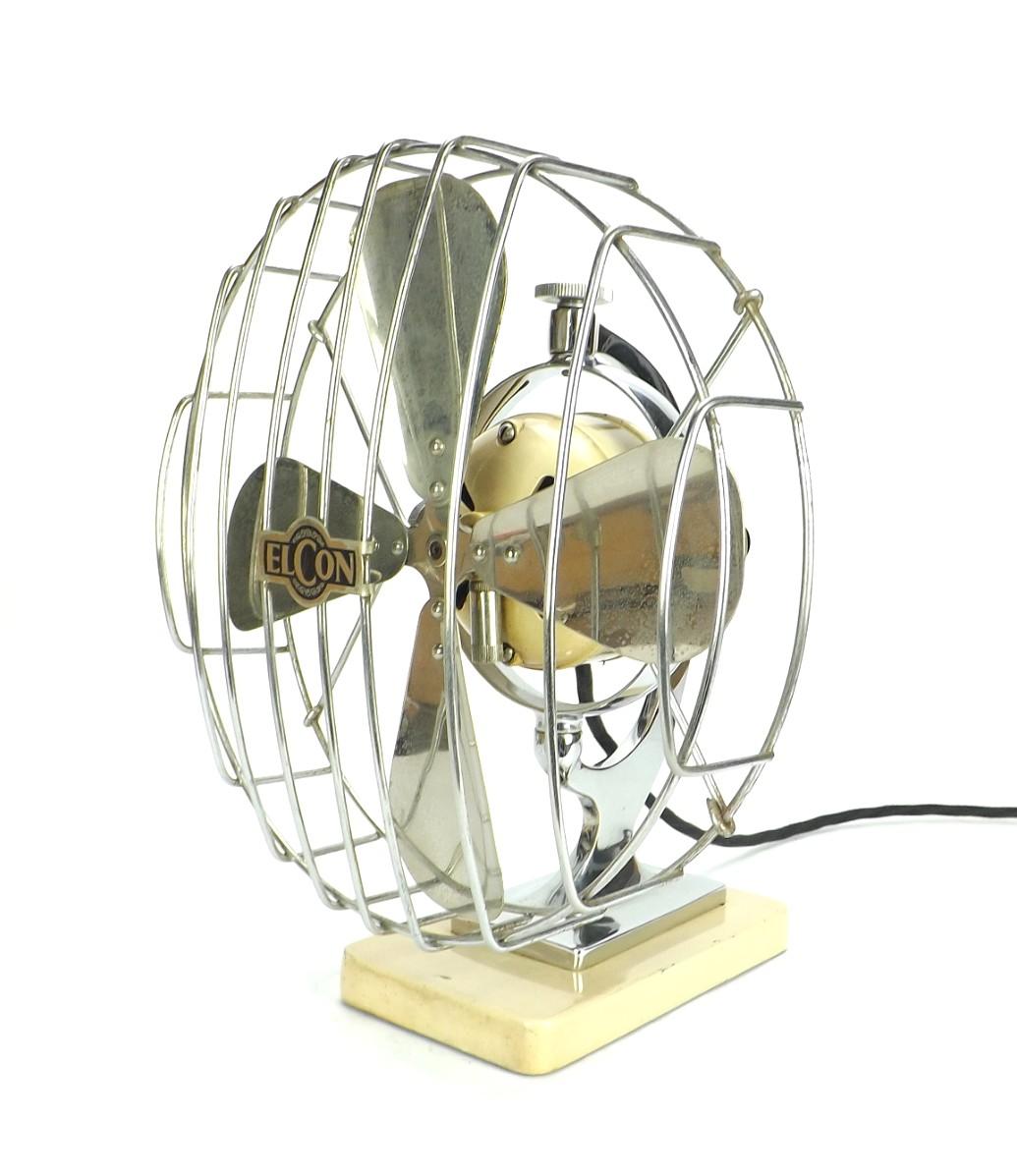 """Circa 1930's Elcon 10"""" Modernistic Desk Fan"""
