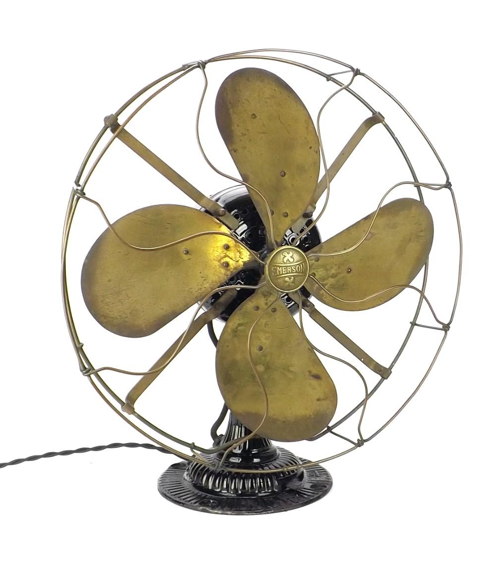 """Circa 1910 Emerson Type 12648 16"""" Desk Fan Lever Oscillator"""