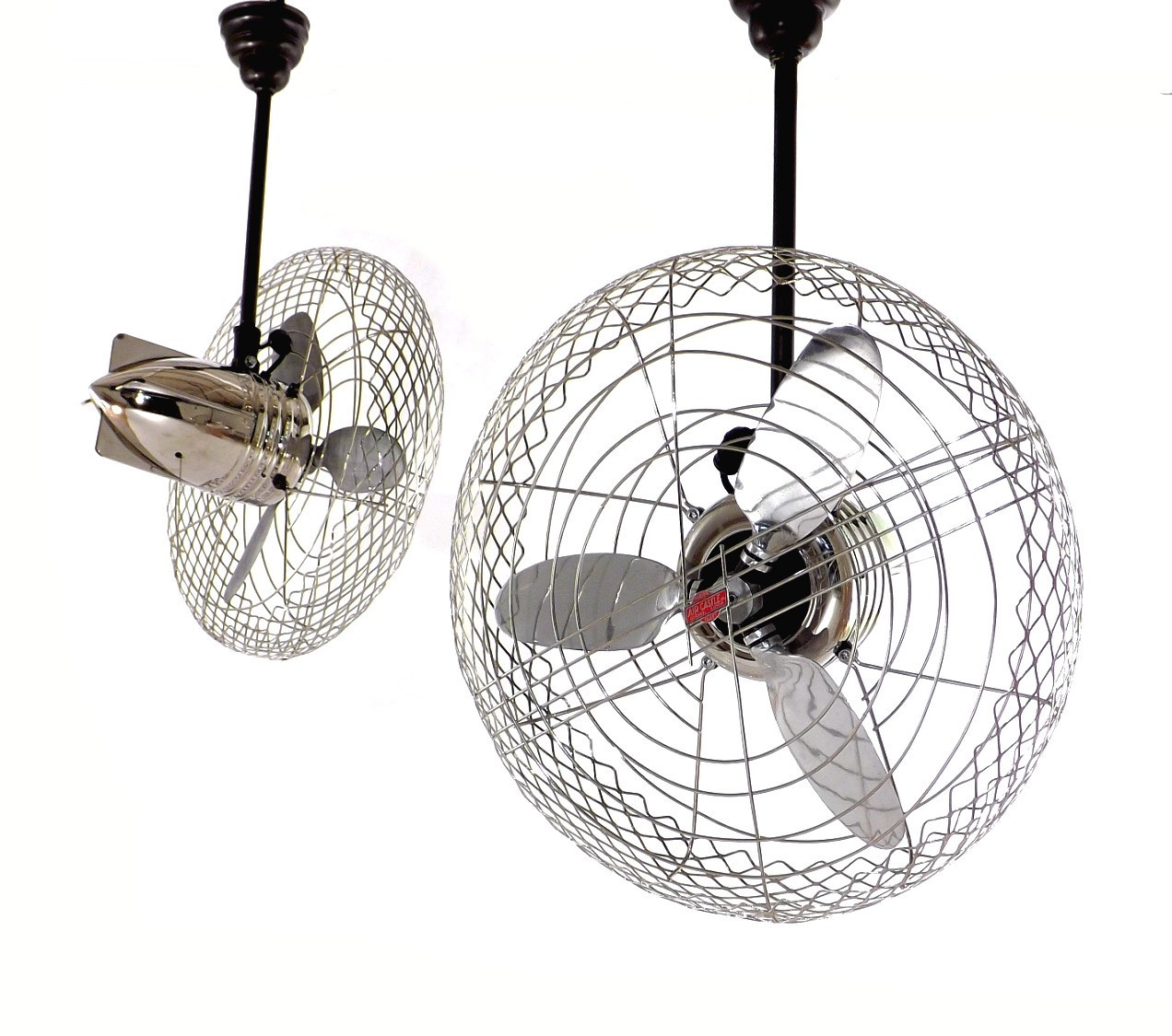 Incredible Pair Of 1940's Industrial Chrome Air Castle Airplane Design Circulator Fans Restored