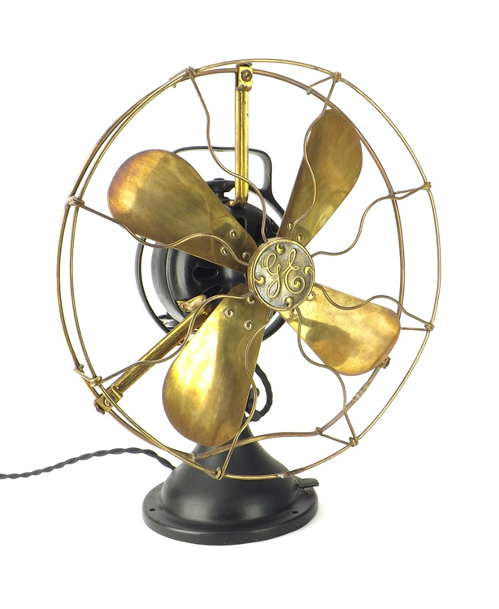 "Circa 1916 12"" GE 3 Star Brass Blade Guard Oscillating Desk Fan"