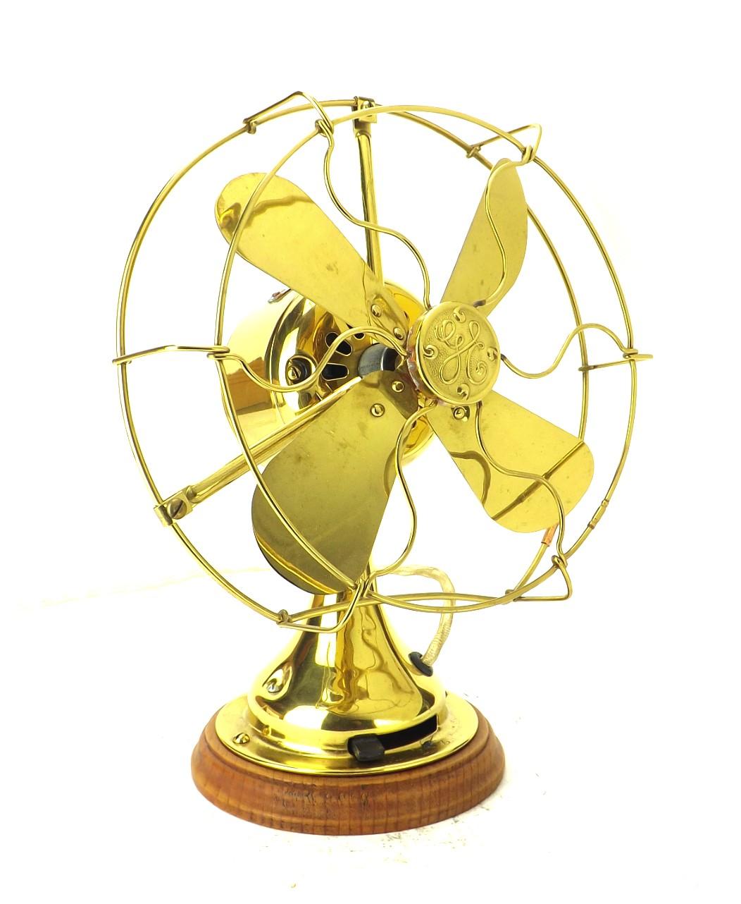 "Circa 1919 8"" GE All Brass Desk Fan Polished"