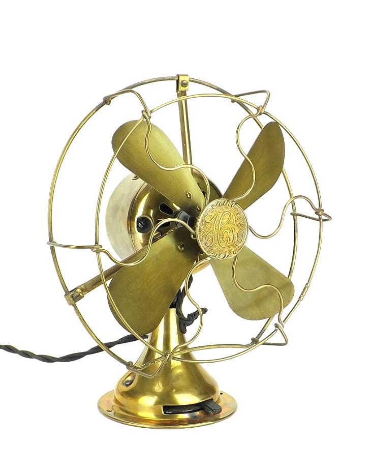 "Circa 1919 Hunter Electric 8"" All Brass Desk Fan"
