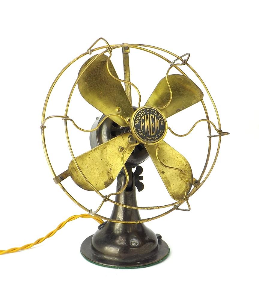 "Circa 1920 FWEW Wood System 8"" All Brass Desk Fan"