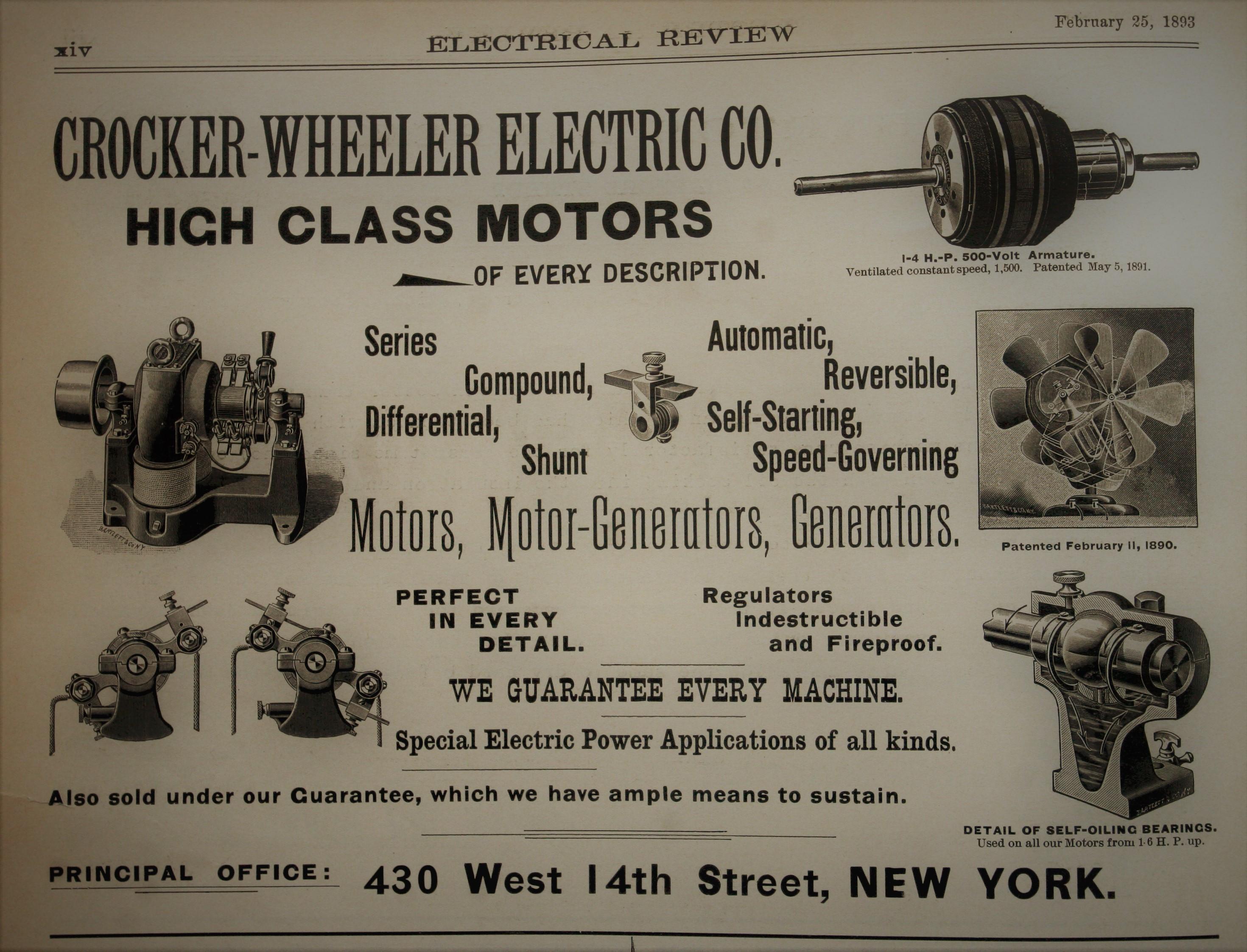 1890's Crocker Wheeler 1/8 HP Bipolar Motor with Switch