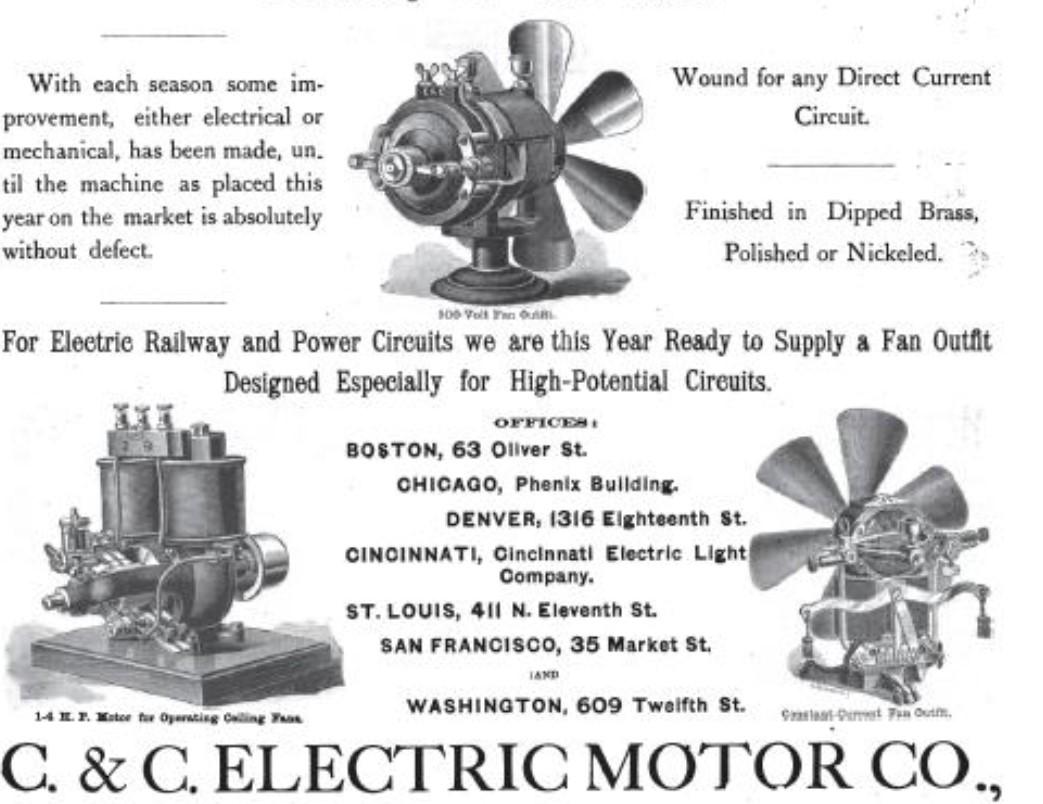 1886 C&C Electric Motor Co. Bipolar Utility 1N Motor
