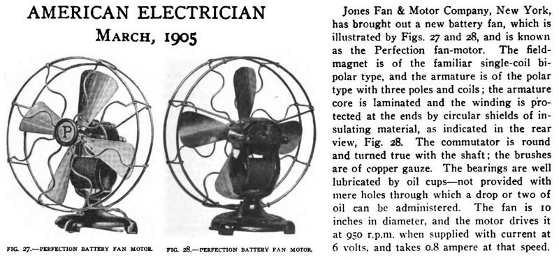 "1903 10"" Lionel ""Perfection"" Battery Fan Bipolar"