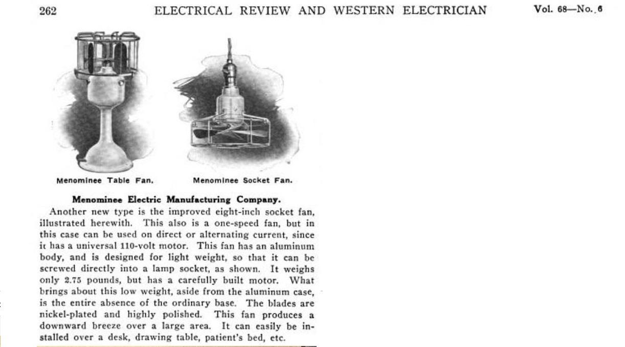 Very Rare 1917 Menominee Light Bulb Socket AC/DC Fan